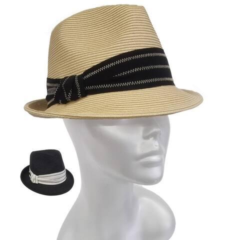 Unisex grograin band poly braid small fedora trilby summer hat