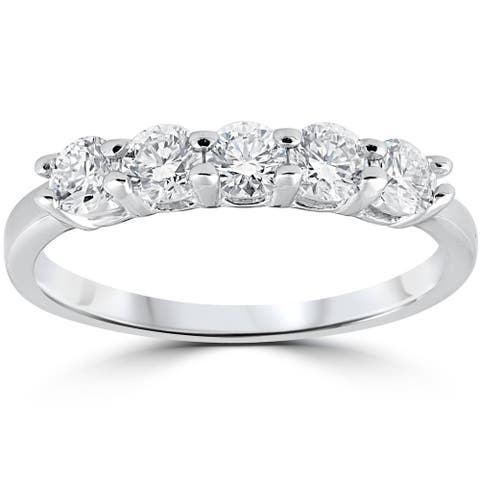 1/2Ct Moissanite Five Stone Wedding Ring in White Gold