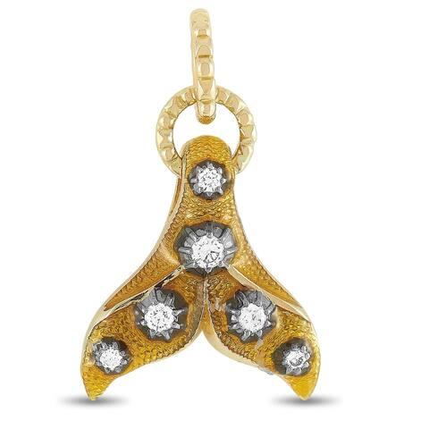 Gucci Yellow Gold Diamond and Yellow Enamel Fin Motif Charm