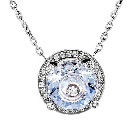 Chopard So Happy White Gold Diamond and Blue Crystal Pendant 816120-1007