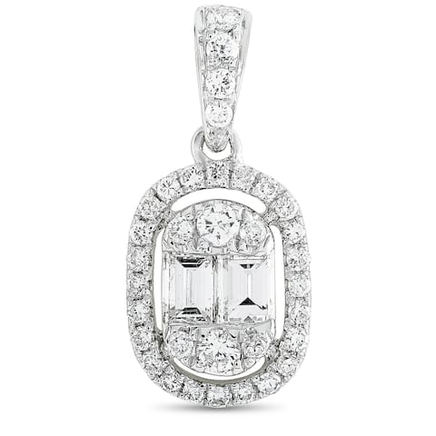 LB Exclusive White Gold Round and Baguette Diamond Pendant