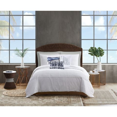 Sean John Pleated White Denim 3 Piece Comforter Set