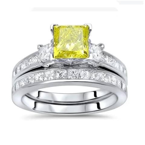 14k Gold 2 ct TDW Princess-cut Yellow Diamond 3-stone Engagement Ring Set - White