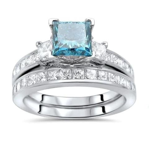 14k Gold 2 ct TDW Princess-cut Blue Diamond 3-stone Engagement Ring Set - White