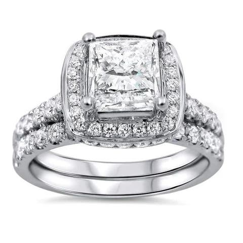 18k White Gold 2ct TDW Princess-cut Diamond Clarity-enhanced Bridal Set