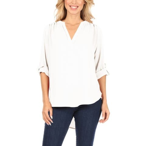 Women's Solid V-Neck Roll Up Sleeve Tunic Blouse