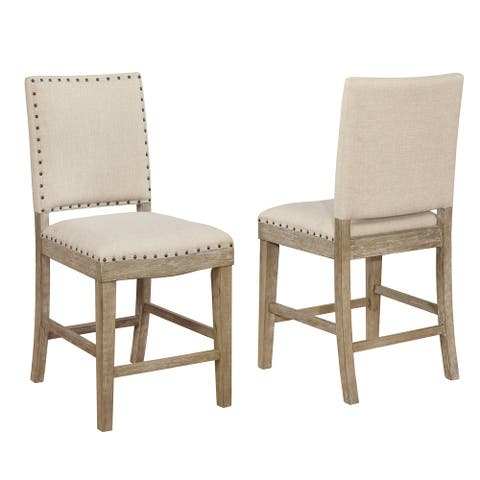Best Quality Furniture Rustic Beige Upholstered Counter Height Chairs with Nailhead Trim (Set of 2)