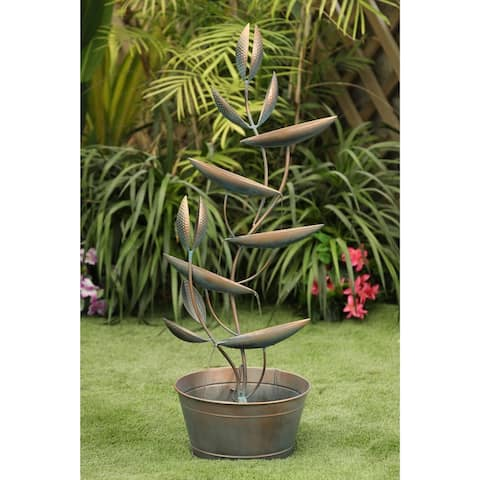 Metal Venus Cascading Leaves Outdoor Fountain