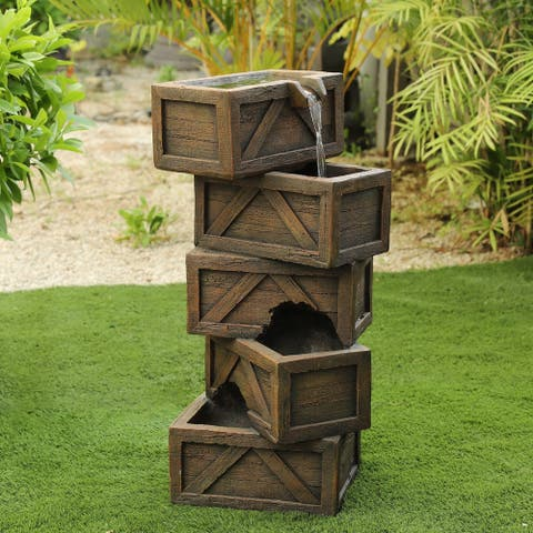 Cement Tiered Crates Outdoor Fountain