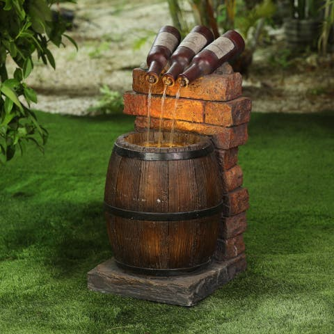 Resin Wine Bottle and Barrel Outdoor Fountain with LED Lights