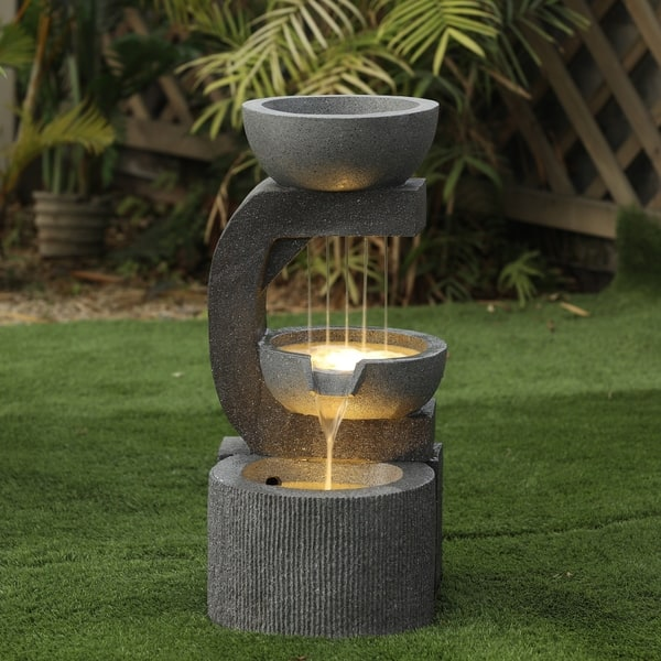 Resin Tiered Pots Outdoor Fountain With Led Light Overstock 30925683