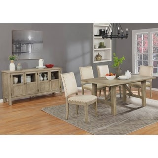 Link to Best Quality Furniture Rustic Beige Dining Sets with Upholstered Dining Chairs with Nailhead Trim and Server Similar Items in Dining Room & Bar Furniture