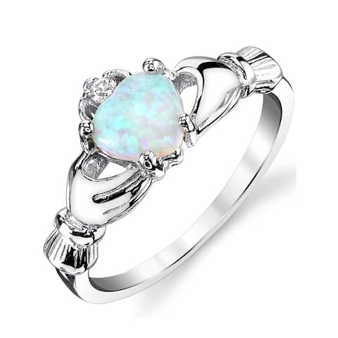 Oliveti Women's Sterling Silver 925 Irish Claddagh Friendship Love Ring Light Blue Simulated Opal Heart