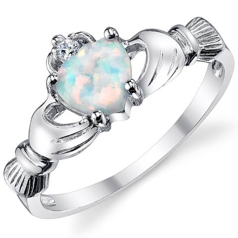 Oliveti Women's Sterling Silver 925 Irish Claddagh Friendship Love Ring Simulated Opal Heart