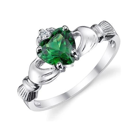 Oliveti Women's Sterling Silver 925 Irish Claddagh Friendship Love Ring Simulated Emerald Green Heart Cubic Zirconia