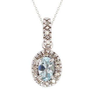 Gems en Vogue 10k White Gold Aquamarine & Diamond Pendant