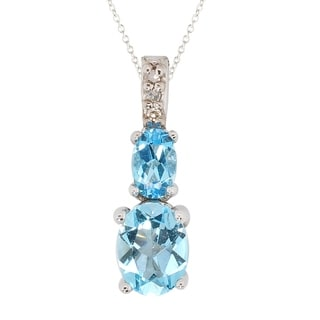 Gems en Vogue 10k White Gold Sky Blue Topaz & Diamond Pendant