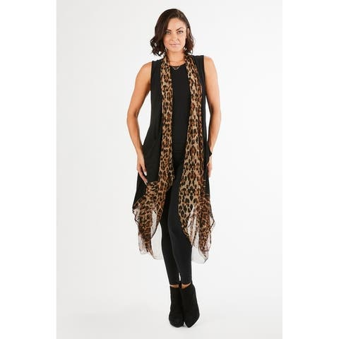 Women's Black/Leopard Printed Long Duster Vest with Pockets