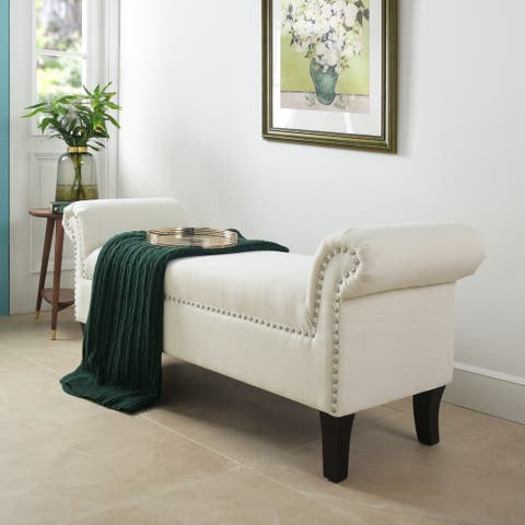 """Milan 53"""" Roll Arm Entryway Lounge Accent Bench"""