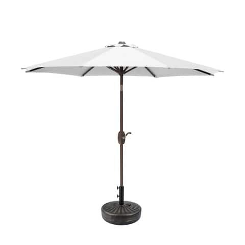 Aaron 9ft Patio Umbrella with Round Bronze Free Standing Umbrella Base