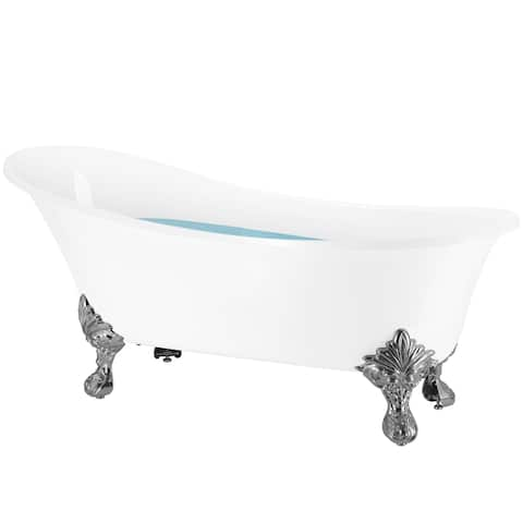 AKDY Clawfoot Bathtub - 69 Inch Glossy White Acrylic Bathtub - Stand Alone Tub - Luxurious SPA Soaking