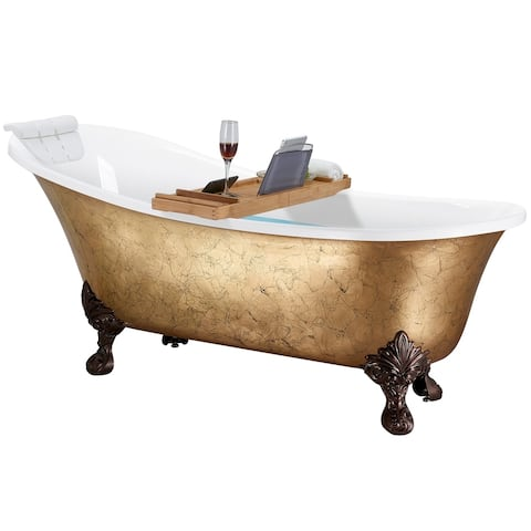 AKDY Clawfoot Bathtub - 69 Inch Glossy gold foil Acrylic Bathtub - Stand Alone Tub - Luxurious SPA Soaking