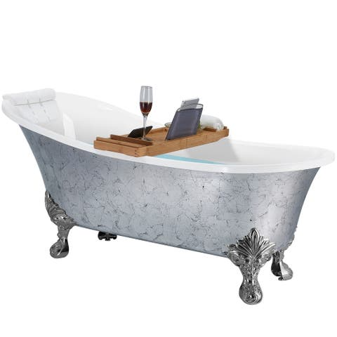 AKDY Clawfoot Bathtub - 69 Inch Glossy finish silver foil Acrylic Bathtub - Stand Alone Tub - Luxurious SPA Soaking