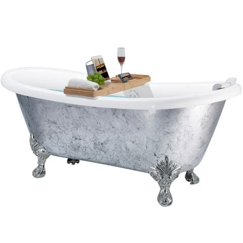 AKDY Clawfoot Bathtub - 69 Inch Silver Acrylic Bathtub - Stand Alone Tub - Luxurious SPA Soaking