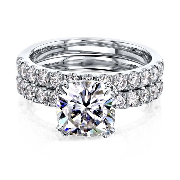 Annello by Kobelli 14k Gold 2-9/10 Carat TW Cushion Moissanite and Natural Diamond Comfort Fit Bridal Set (HI/VS, GH/I). Opens flyout.