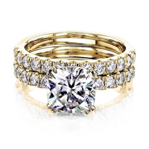 Annello by Kobelli 14k Gold 2-9/10 Carat TW Cushion Moissanite and Natural Diamond Comfort Fit Bridal Set (FG/VS, GH/I)