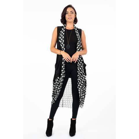 Women's Black/Polka Dot Long Duster Vest with Pockets