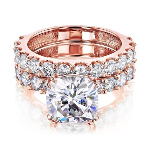 Annello by Kobelli 14k Gold 4-5/8ct TGW Cushion Moissanite and Natural White Diamond Shared U-Prong Bridal Set (HI/VS, HI/I)