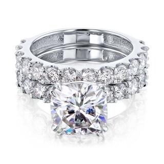 Link to Annello by Kobelli 14k Gold 4-5/8ct TGW Cushion Moissanite and Natural White Diamond Shared U-Prong Bridal Set (HI/VS, HI/I) Similar Items in Rings