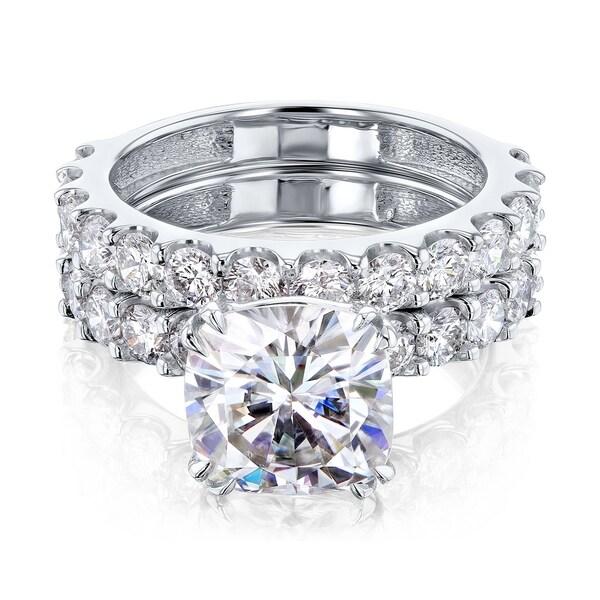 Annello by Kobelli 14k Gold 4-5/8ct TGW Cushion Moissanite and Natural White Diamond Shared U-Prong Bridal Set (HI/VS, HI/I). Opens flyout.