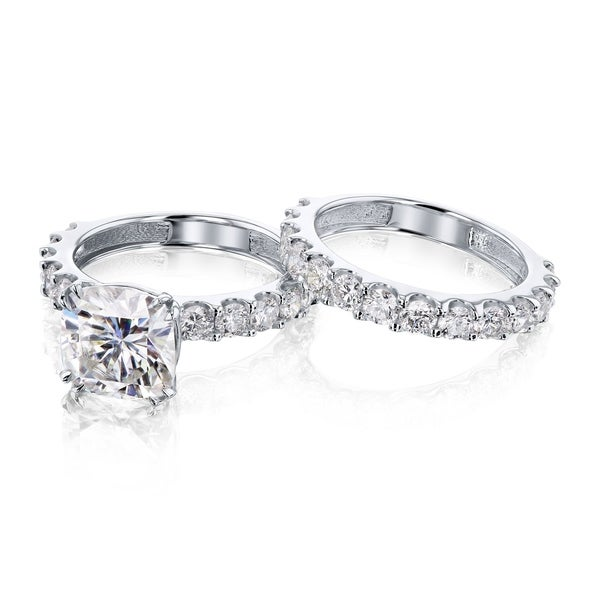 Annello by Kobelli 14k Gold 4-5/8ct TGW Cushion Forever One Moissanite and Natural Diamond U-Prong Bridal Set (DEF/VS, HI/I). Opens flyout.
