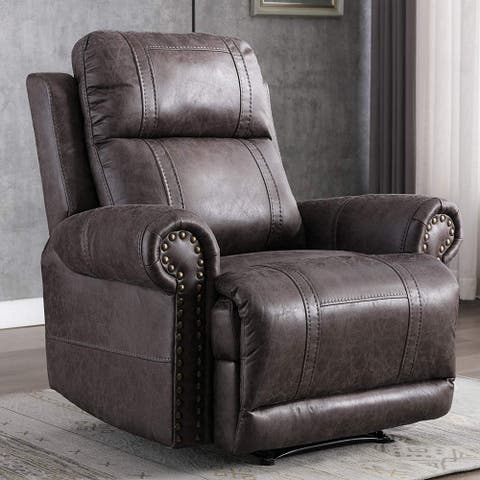 Leather Recliner Chair, Classic Manual Recliner Chair with Overstuffed Arms and Back