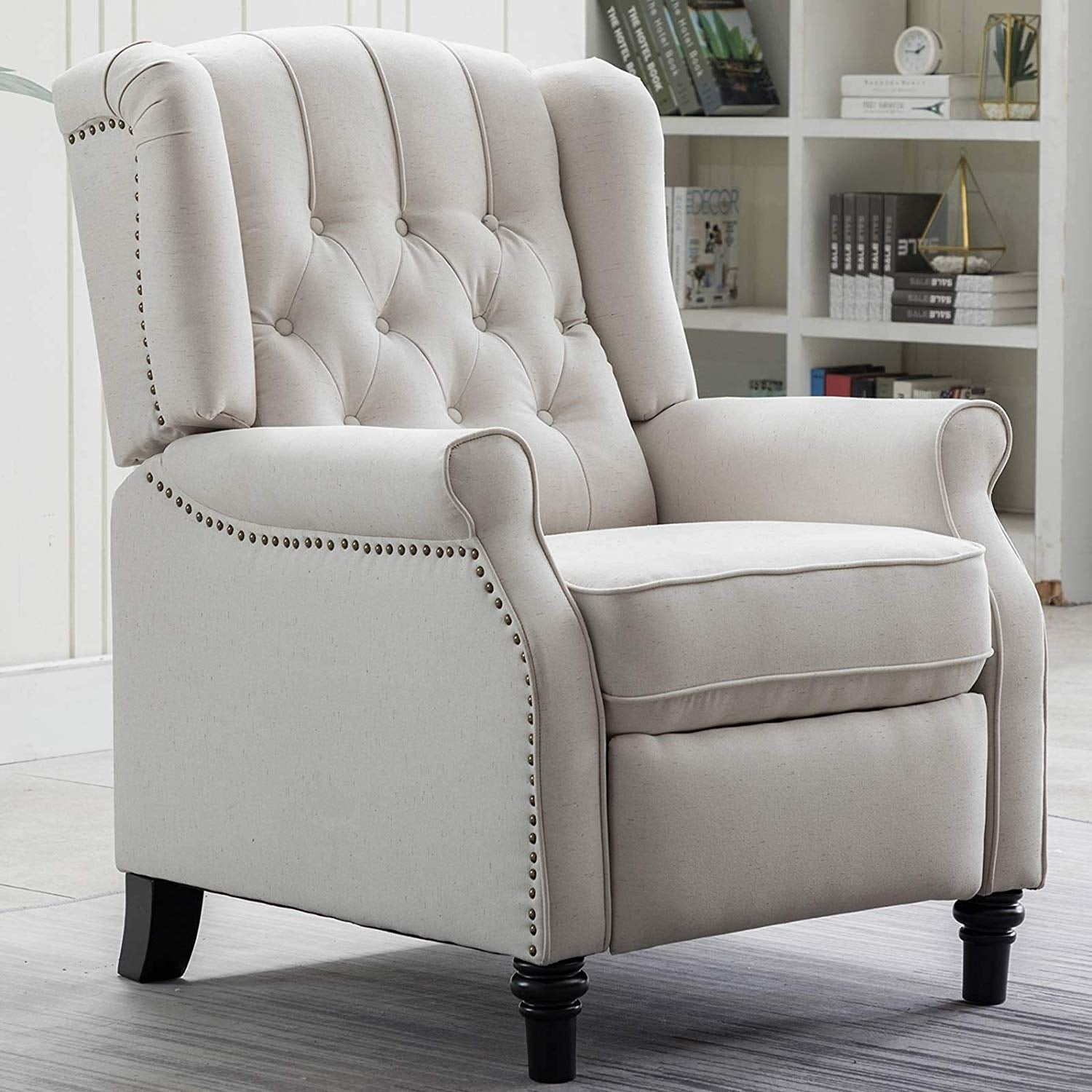 Elizabeth Fabric Arm Chair Recliner with Tufted Back, Push Back Recliner  Chair for Living Room