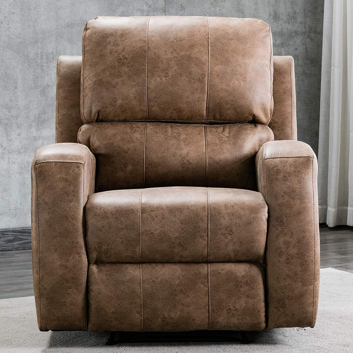 Power Recliner Chair Air Suede Overstuffed Electric Faux Suede Leather Recliner Chair with USB Charge Port