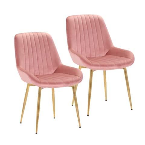 Porthos Home Dayo Set of 2 Velvet Dining Chairs, Golden Chrome Legs