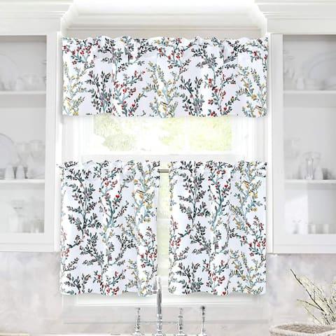DriftAway Jasmine Watercolor Branch Botanical Semi Sheer 3 Pieces Rod Pocket Kitchen Window Curtain Set