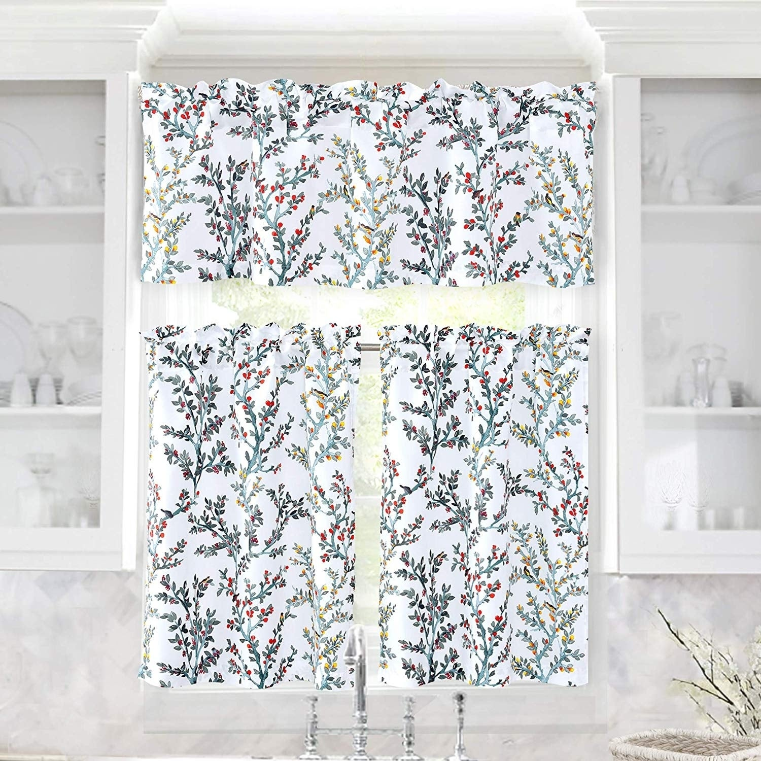 """JUJOLY Tree Branch Pattern Semi Sheer 3 PCS Rod Pocket Kitchen Window Curtain Set with 2 Tiers 26/""""x24/"""" and 1 Valance 52 /""""x14/"""" Silver Gray and White"""