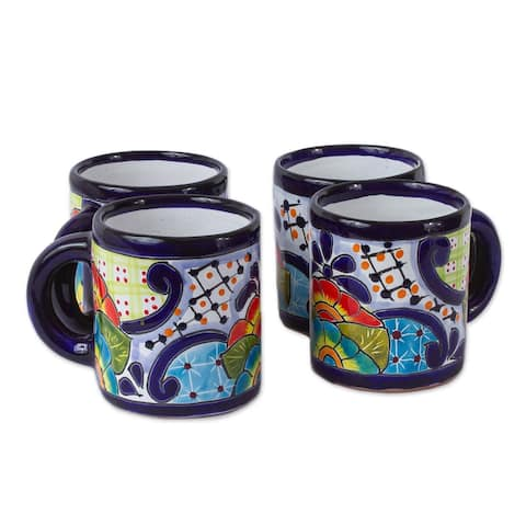 Handmade Raining Flowers Ceramic Mugs Set Of 4 (Mexico)