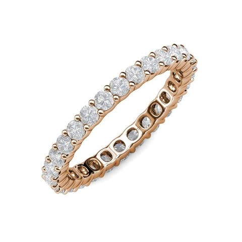 TriJewels White Sapphire 1 5/8 ctw Womens Eternity Ring 14KR Gold