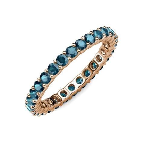 TriJewels London Blue Topaz 1 1/2 ctw Womens Eternity Ring 14KR Gold