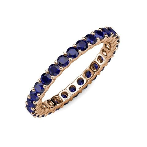 TriJewels Blue Sapphire 1 5/8 ctw Womens Eternity Ring 14KR Gold