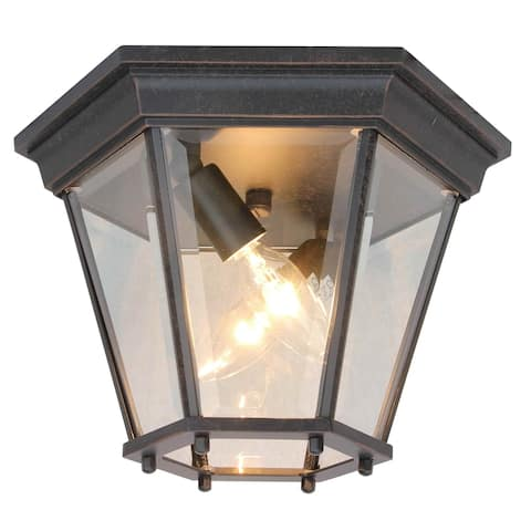 2 Light Outdoor Ceiling Lantern in Oil Rubbed Bronze