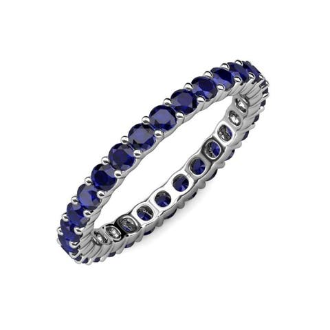 TriJewels Blue Sapphire 1 5/8 ctw Womens Eternity Ring 14KW Gold