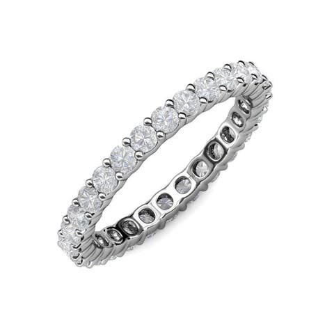 TriJewels White Sapphire 1 5/8 ctw Womens Eternity Ring 14KW Gold