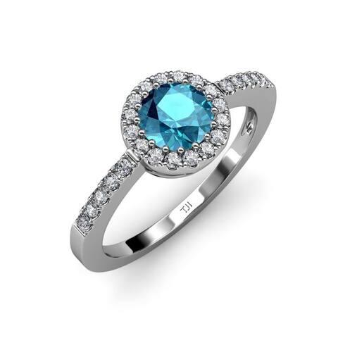 TriJewels London Blue Topaz Diamond 1 5/8 ctw Halo Ring 14KW Gold
