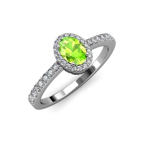 TriJewels Peridot Diamond 1 3/8 ctw Halo Engagement Ring 14KW Gold